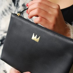 Leather pouch Long Life With Me - black