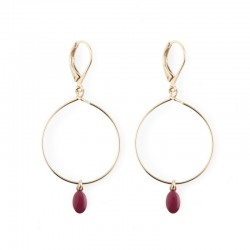 Earrings Plumette - burgundy